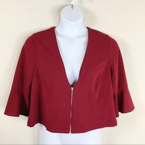 Perceptions Red Zip Front Bolero Jacket Size 14